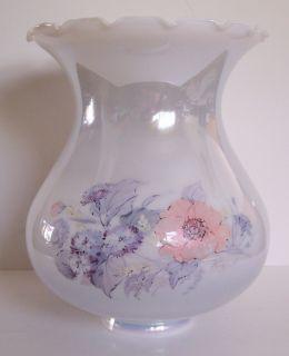 Large Vtg White Hurricane Lamp Shade Luster Floral Huge