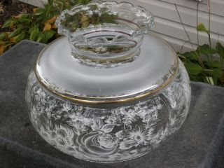 Vintage Hurricane Clear Satin Lace Glass Ruffled Lamp Shade