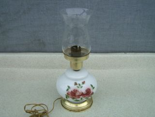 Vintage Table Hurricane Lamp Hand Painted Roses & Etched Chimney