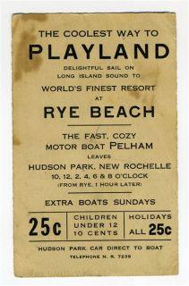 Motor Boat Pelham Hudson Park to Rye Beach Playland Ad Card 1930S