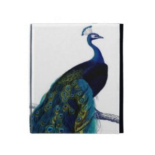 Vintage Blue Elegant Colorful Peacock iPad Folio Cases