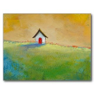 Living in Color   happy little landscape painting Post Card