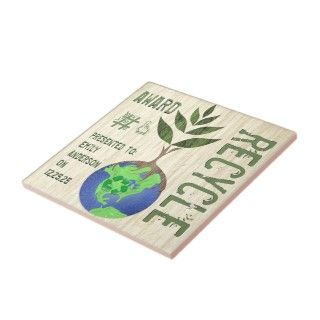 Recycle Award Tree Earth Globe Wood Grain Ceramic Tiles