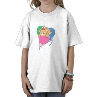 Oso lindo del globo del cumpleaños tee shirt de