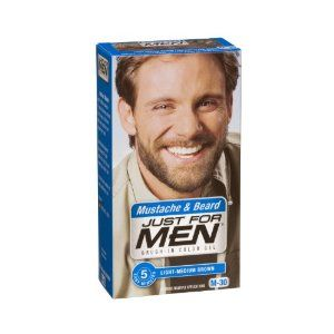 Just for Men Brush in Color Gel Mustache Beard Light Medium Brown M 30