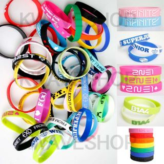 KPOP Bracelet Rubber Wristband 2PM MBLAQ BAP 2NE1 TEENTOP B1A4 FX