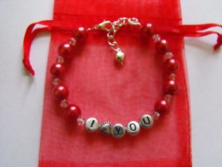 Personalised Pearl I Love You Heart Charm Bracelet Gift