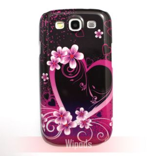 Purple Love Heart Flower Hard Case Cover for Samsung Galaxy s 3 III S3