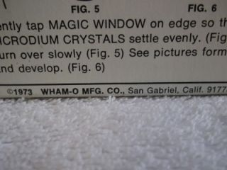 VINTAGE WHAM O MAGIC WINDOW 1973 FIRST YEAR PRODUCED IOB W/ STAND