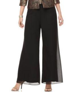 Richards New Palazza Black Solid Flat Front Dress Pants Plus 16W