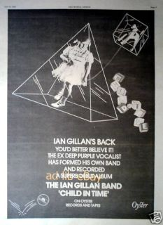 Ian Gillan Band Child in Time Poster Size Ad 1976 Advert Advertisement
