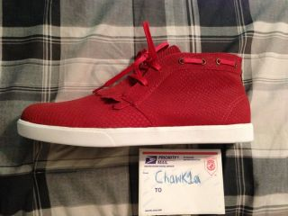 Ibn Jasper x Diamond Supply Co Red Suede Shoe Sz 11