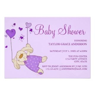 Baby Bunny Purple Design Baby Shower Invitation