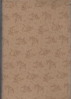 Brown Paisley Floral Cotton Quilt Sewing Fabric 1yd