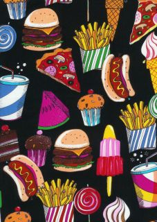 Ice Cream Candy Cupcake French Fry Lollipop Fabric New