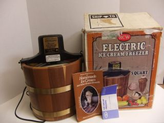 Electric Wood Cedar Ice Cream Freezer Maker Bucket 5 Qt Recipes