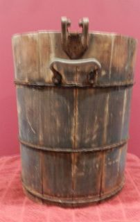 Antique Vintage Primitive Wood Ice Cream Bucket