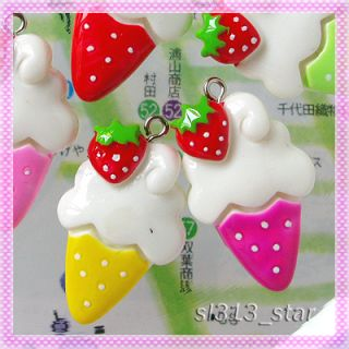 5pcs Soft Ice Cream Cone Lucite Charms Mix Colors