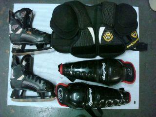 Ice Hockey Equipment Youth Ice Skates Shoulder Pad Knee Shin Guard