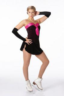 New Jazzy Black Pink Tie Figure Skating Dress Ad Medium