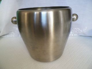 Large Champagne Wine Ice Bucket Cooler Brushed Stainless 18 10