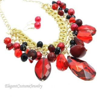 YOU ARE HOT Ice Red Gold Bead Statement Necklace Set Elegant Costume
