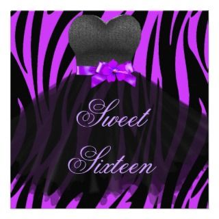 Sweet 16 Birthday Purple Zebra Black Purple Dress Announcement