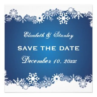 Blue Snowflake Winter Wedding Save The Date Invitation