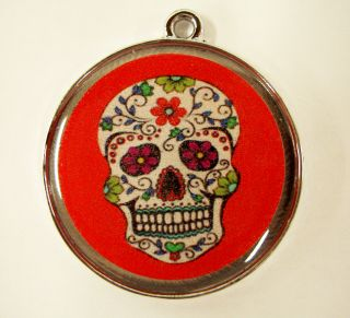 Pet ID Tags Dog Cat Tag Floral Day of Dead Skull Pet Name Tag