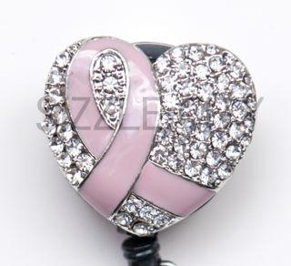 Breast Cancer Rhinestone Badge Reel Retractable ID Badge Holder