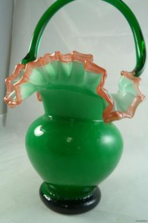 Vintage Art Glass Green Rose Crest Ruffle Overlay Large Basket Flower