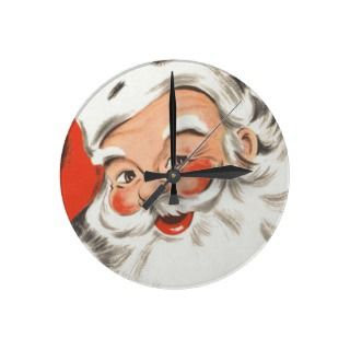 Vintage Christmas Jolly Merry Santa Claus with Hat Clocks