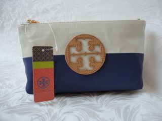 Tory Burch Blue Natural Idina Dipped Coated Canvas Small Cosmetic Case