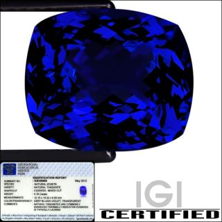 IGI Certified 5.76 ct AAA+ Natural DBlock Tanzanite Cushion Cut Deep