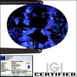 IGI Certified 4 00 Ct AAAA Natural DBlock Tanzanite Oval Cut Deep
