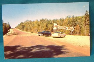 Mystery Spot Hill Cars Sign Postcard St Ignace Michigan Auto