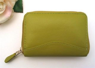 ILI LEATHER CREDIT CARD HOLDER CARD ID CASE ONE ZIP INDEXER MOSS GREEN