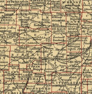 Illinois Authentic 1889 Map showing Counties, Cities, Topography