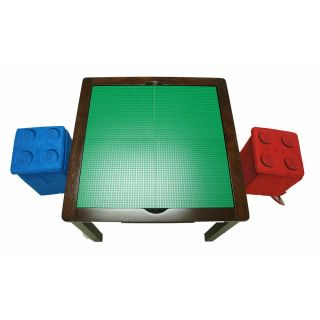 Imaginarium Lego Table with 2 Storage Ottomans Espresso