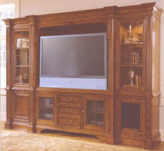 Large Cherry TV Entertainment Wall Unit w Bookcases