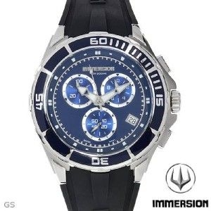 IMMERSION MENS CHRONOGRAPH STAINLESS STEEL & RUBBER STRAP SWISS WATCH