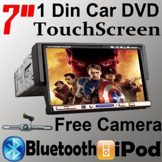 TouchScreen In Dash 1Din Car Deck DVD Player Radio Receiver Free
