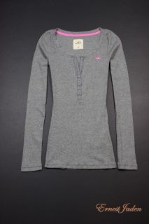 Hollister by Abercrombie womens Imperial Beach Henley Tee T Shirt NWT