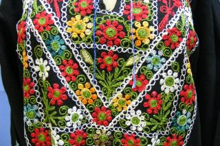 Vg Ehnic Embroidered Middle Eas Islamic Arabic Floral Black Dress