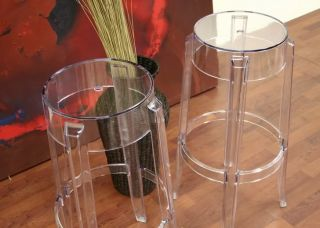Set of 2 Victoria Clear Acrylic Ghost Bar Stool New