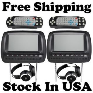 Professional Pair 9in Car Headrest DVD Player Wireless Headphone IR
