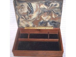 Vintage Mans Incolay Jewelry Trinket Box Hunting Scene Wild Boar