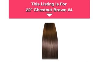 IN Remy Human Hair Extensions Indian #4 Chestnut Brown 7pce FREE BRUSH