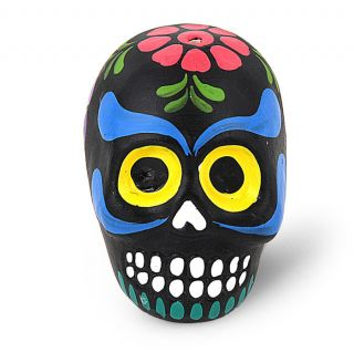 Colorful Hand Painted Sugar Skull Incense Holder Black with Pink