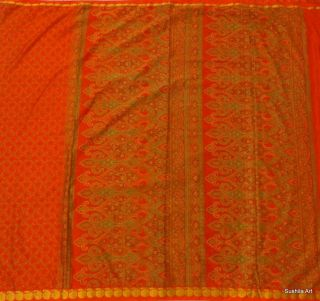 Indian Art Silk Vintage Sari 5 Yard Fabric Bright Orange Craft Quilt